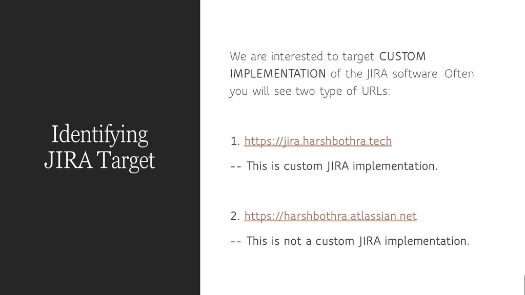 Identifying JIRA Target We are interested to ta...