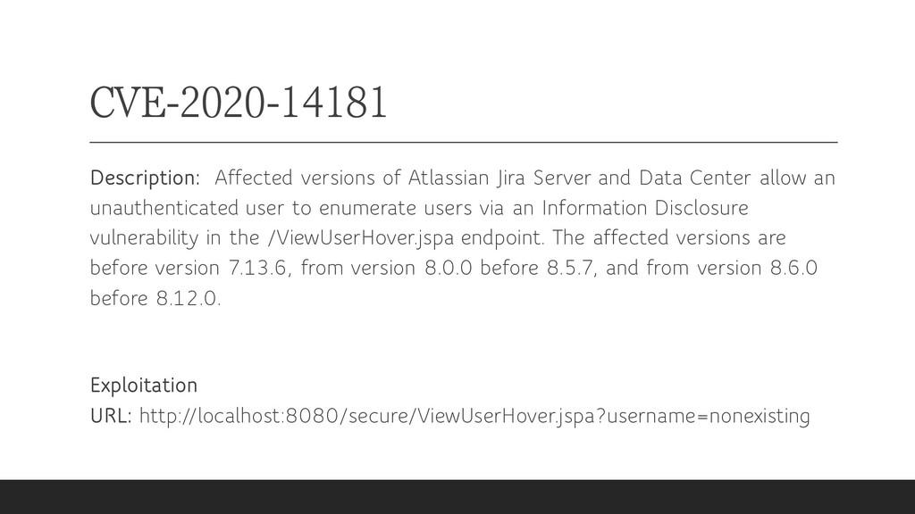 CVE-2020-14181 Description: Affected versions o...