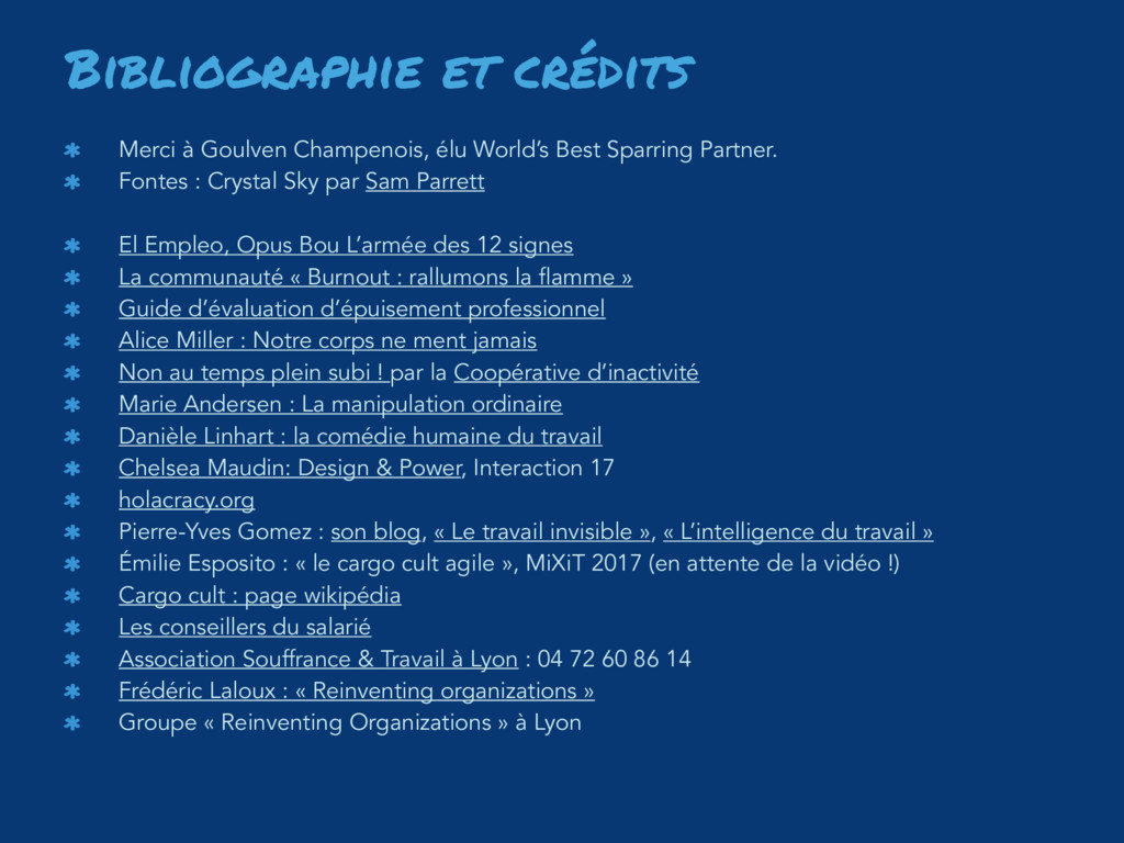 Bibliographie et crédits Merci à Goulven Champe...