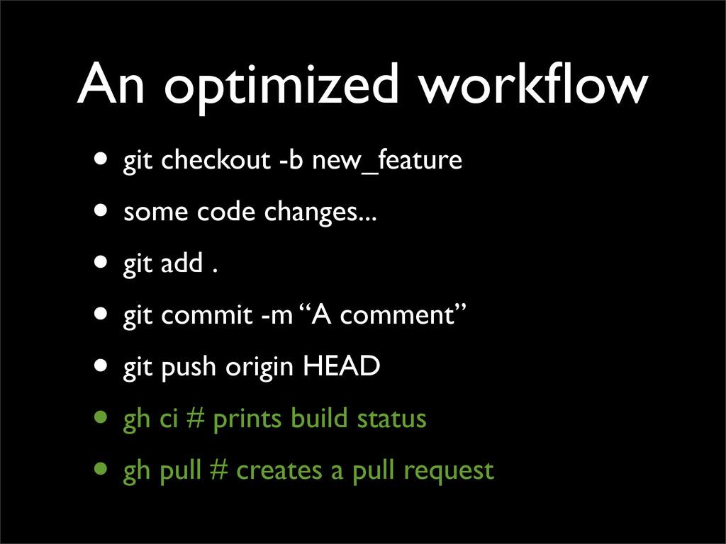 An optimized workflow • git checkout -b new_feat...