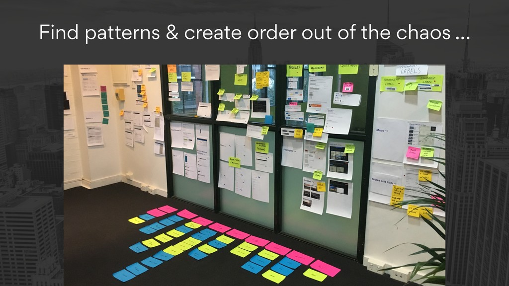 Find patterns & create order out of the chaos …