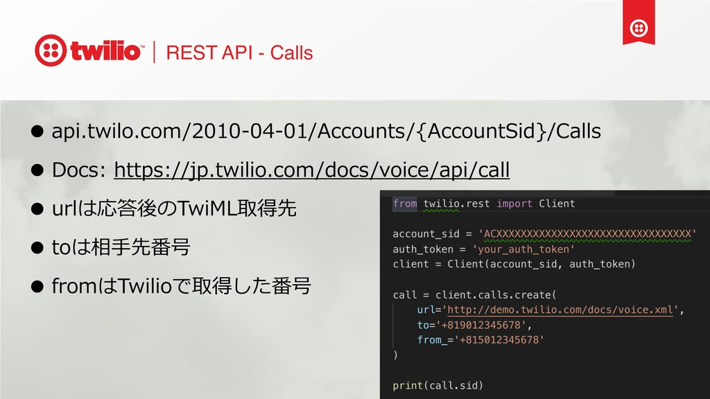 REST API - Calls • api.twilo.com/2010-04-01/Acc...