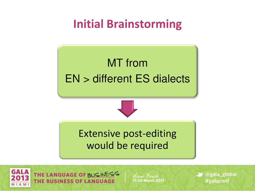 Initial Brainstorming MT from EN > different ES...