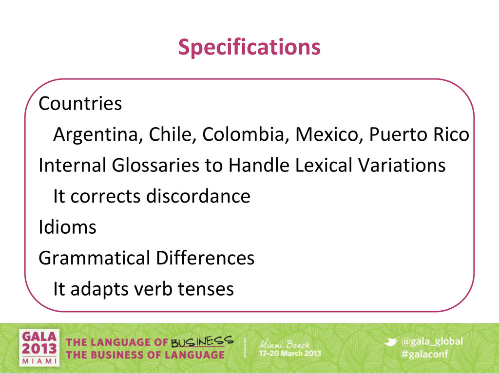 Specifications Countries Argentina, Chile, Colo...