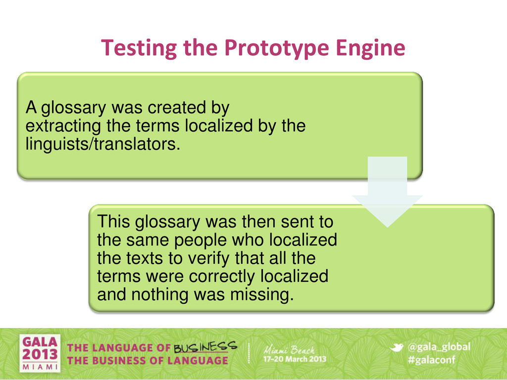 Testing the Prototype Engine A glossary was cre...
