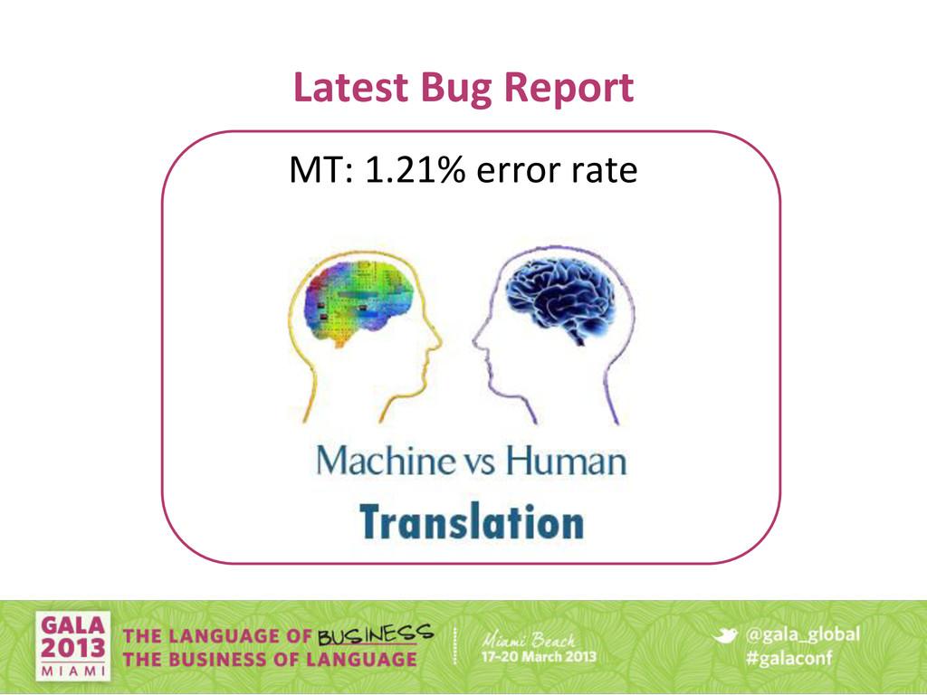 Latest Bug Report MT: 1.21% error rate