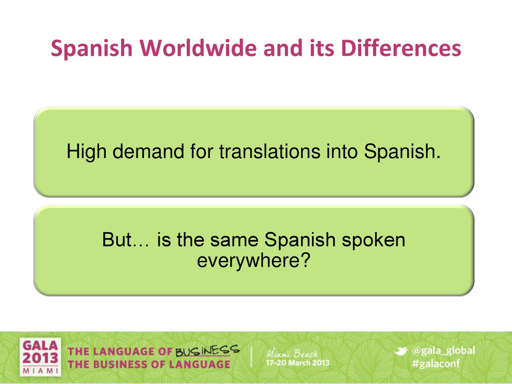 Spanish Worldwide and its Differences High dema...