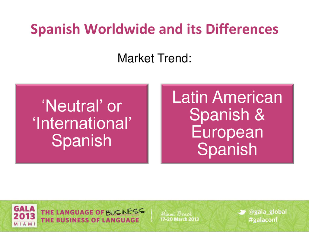Spanish Worldwide and its Differences 'Neutral'...