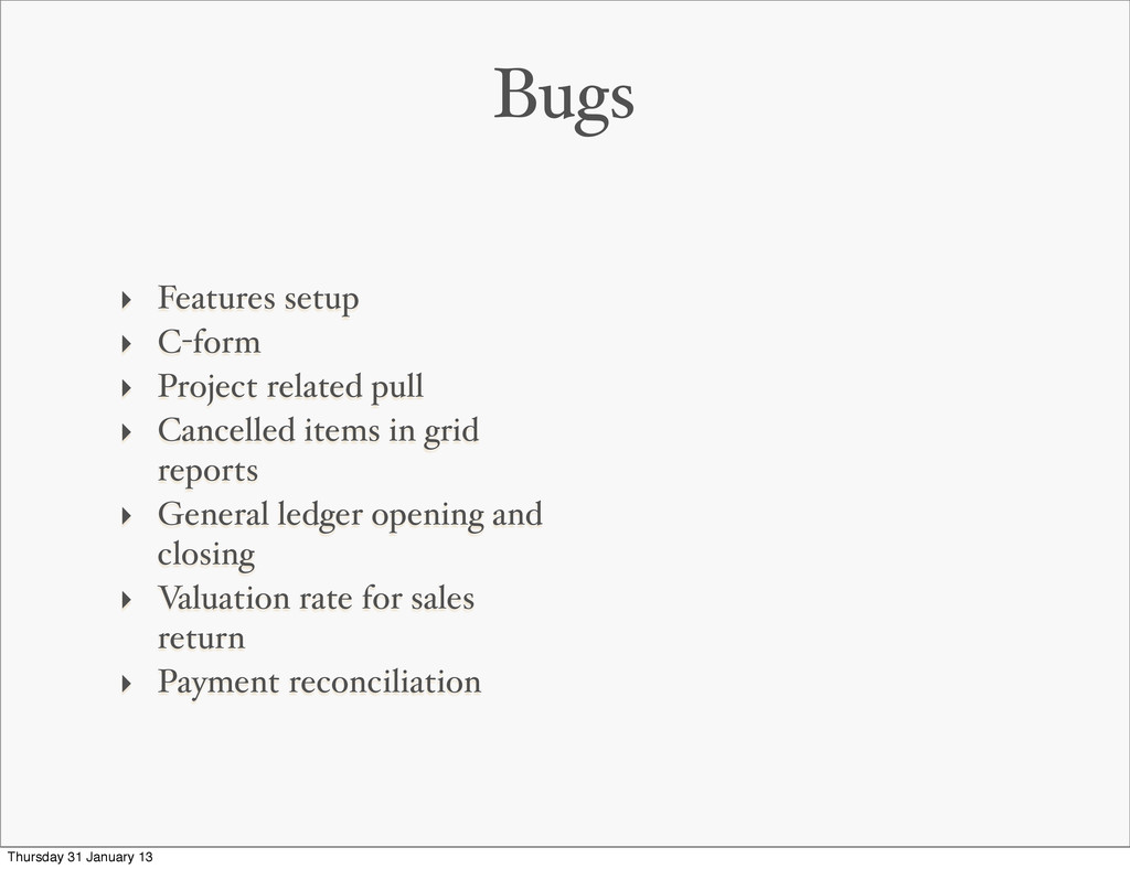 Bugs ‣ Features setup ‣ C-form ‣ Project relate...