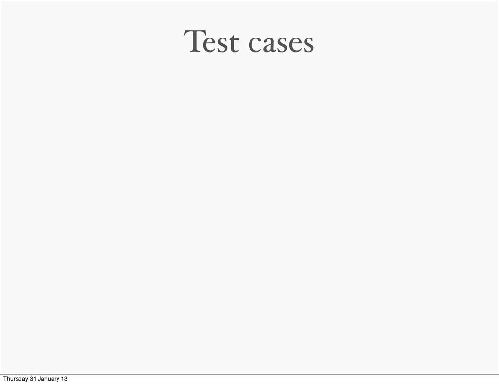 Test cases Thursday 31 January 13