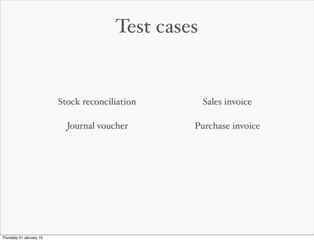 Test cases Stock reconciliation Journal voucher...