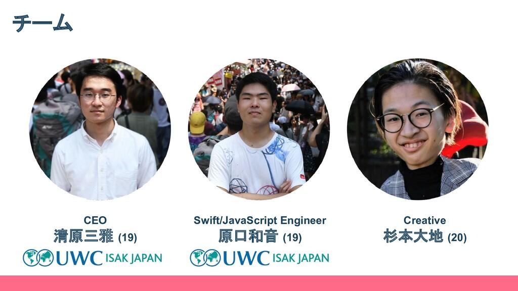 チーム CEO 清原三雅 (19) Swift/JavaScript Engineer 原口和...