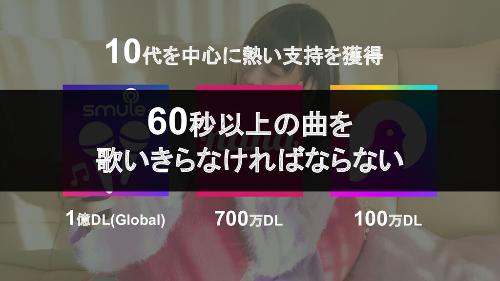 1億DL(Global) 700万DL 100万DL 60秒以上の曲を 歌いきらなければならな...