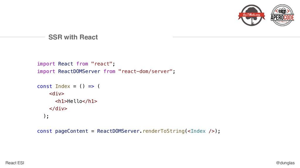 React ESI @dunglas SSR with React import React ...