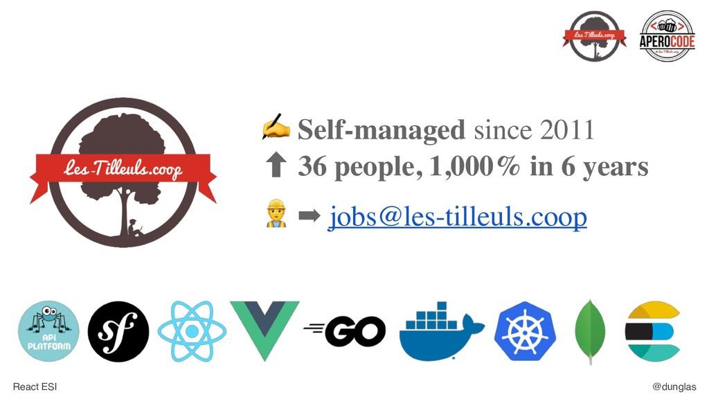 React ESI @dunglas ✍ Self-managed since 2011 ‐ ...