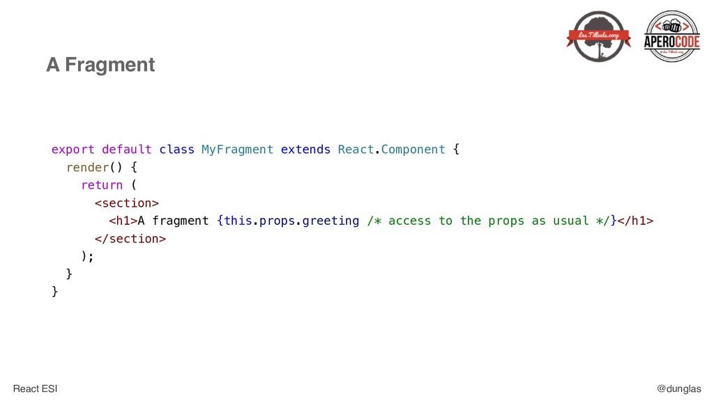 React ESI @dunglas A Fragment export default cl...