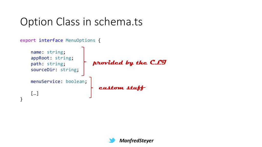 ManfredSteyer Option Class in schema.ts export ...