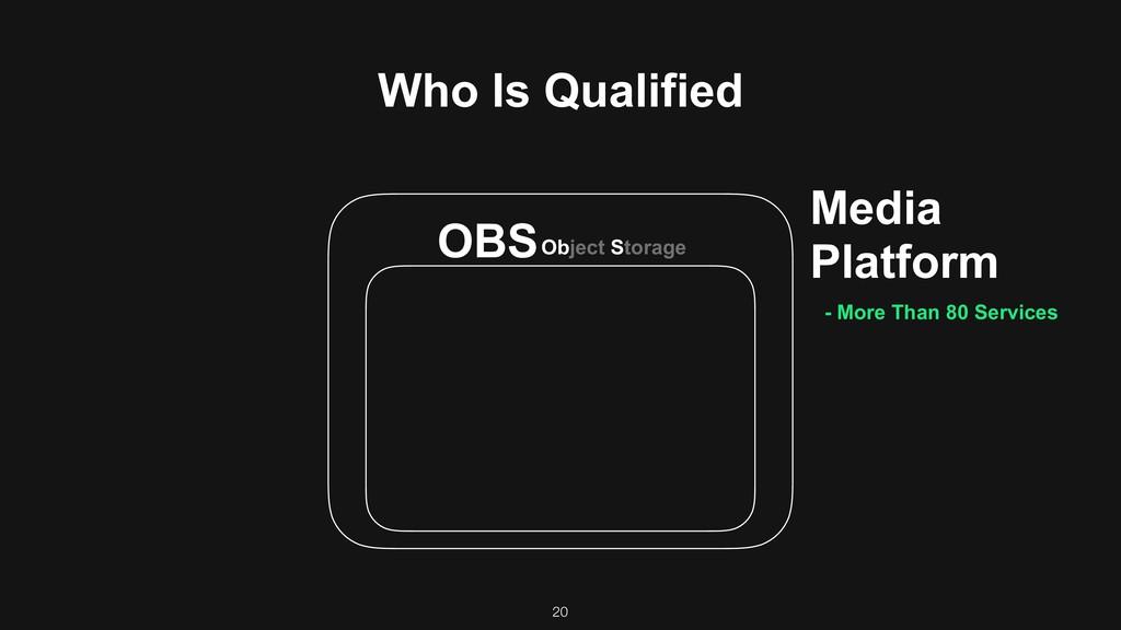 20 Media Platform OBSObject Storage Who Is Qual...