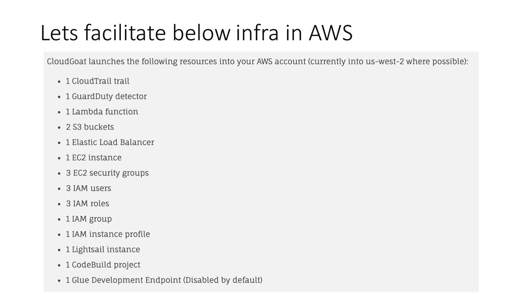Lets facilitate below infra in AWS