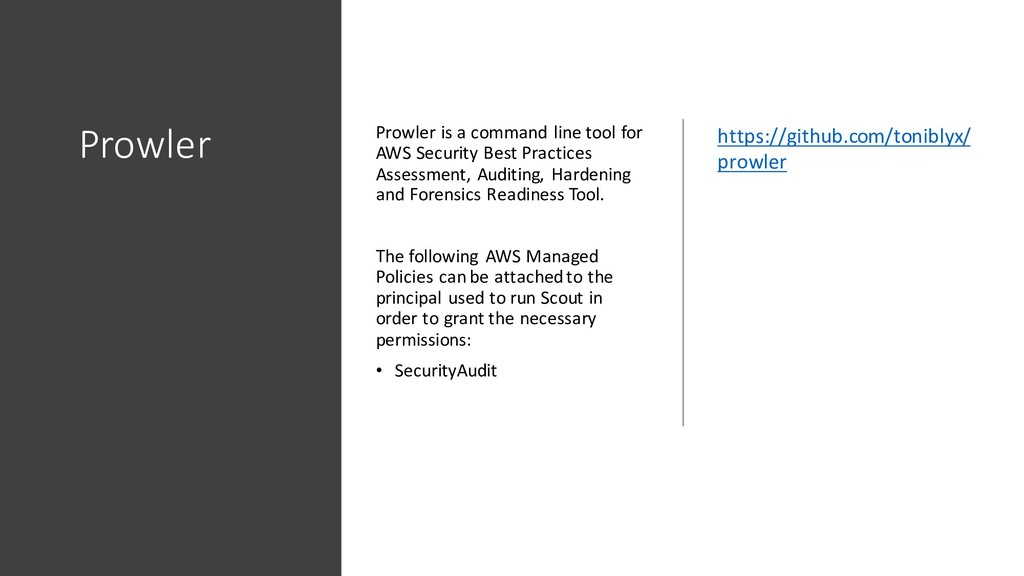 Prowler Prowler is a command line tool for AWS ...