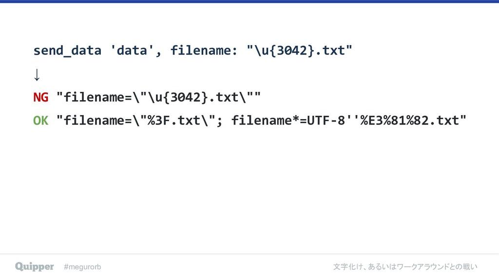 #megurorb 文字化け、あるいはワークアラウンドとの戦い send_data 'data...