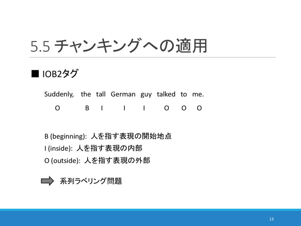 5.5 チャンキングへの適用 13 ■ IOB2タグ Suddenly, the tall G...