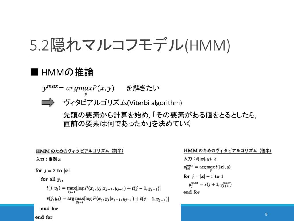 5.2隠れマルコフモデル(HMM) 8 ■ HMMの推論 = (, )  を解きたい ヴィタビ...