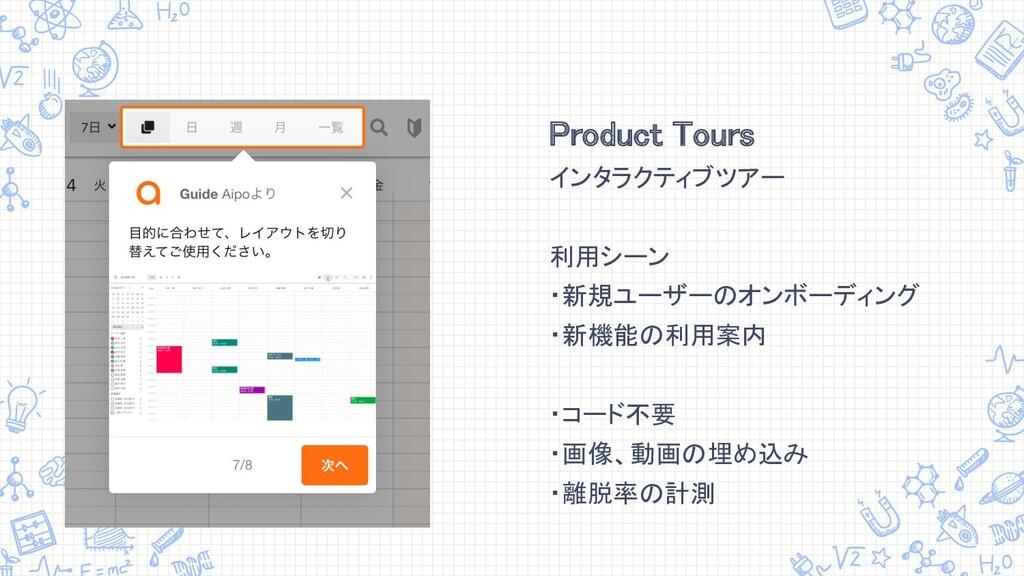 Product Tours インタラクティブツアー  利用シーン ・新規ユーザーのオン...