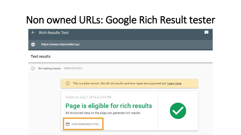 Non owned URLs: Google Rich Result tester