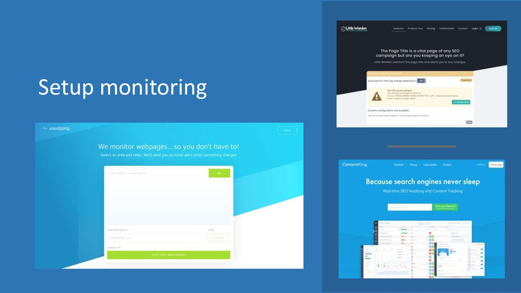 Setup monitoring
