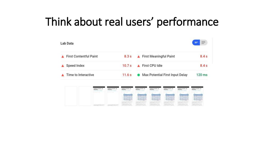 Think about real users' performance