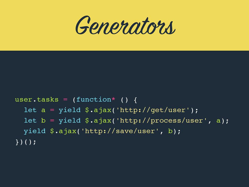 Generators user.tasks = (function* () { let a =...
