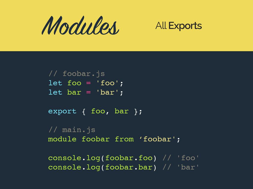 Modules All Exports // foobar.js let foo = 'foo...