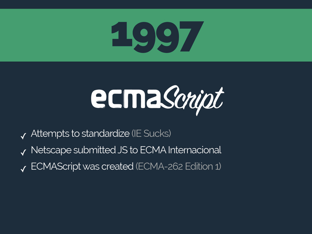 1997 ✓ Attempts to standardize (IE Sucks) ✓ Net...