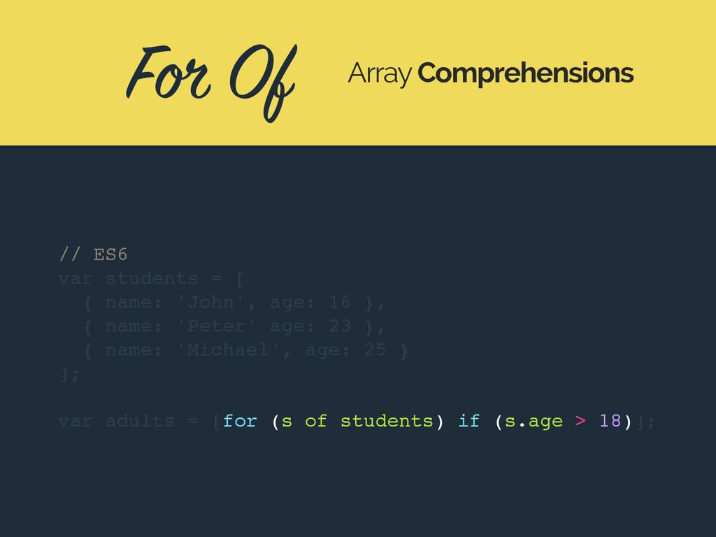 For Of Array Comprehensions // ES6 var students...