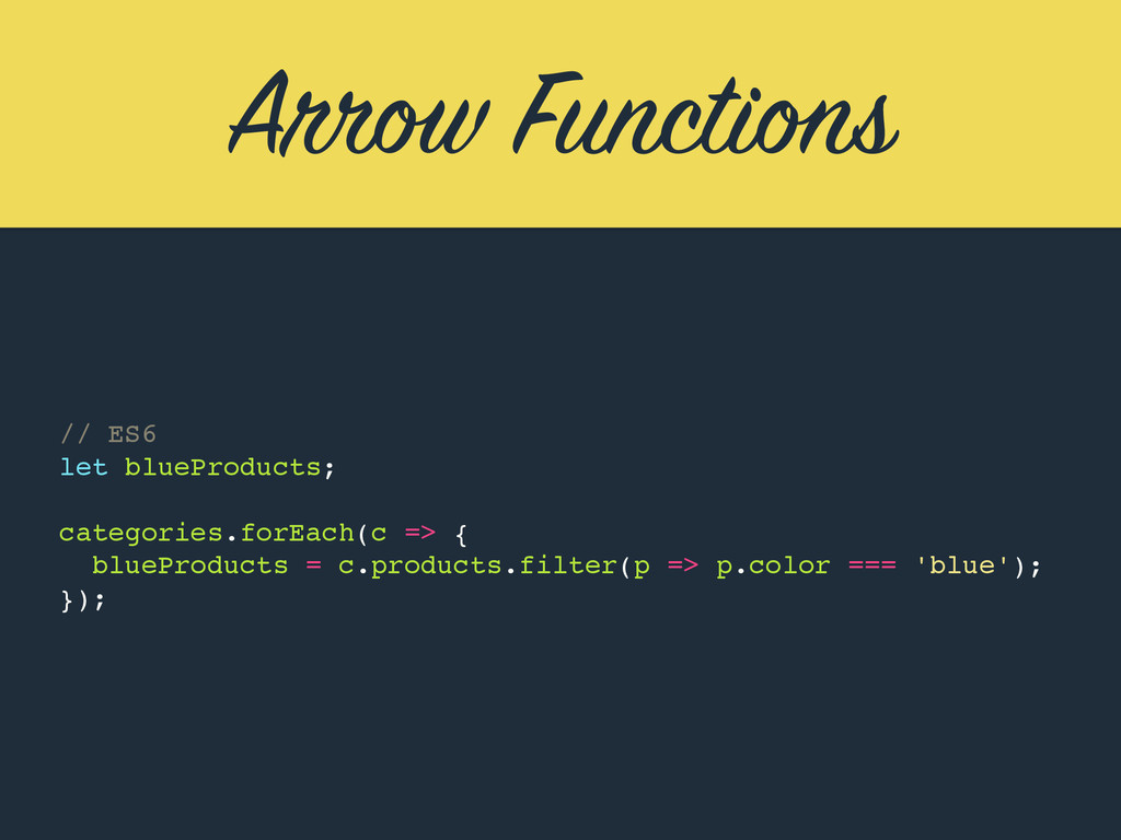 Arrow Functions // ES6 let blueProducts; catego...