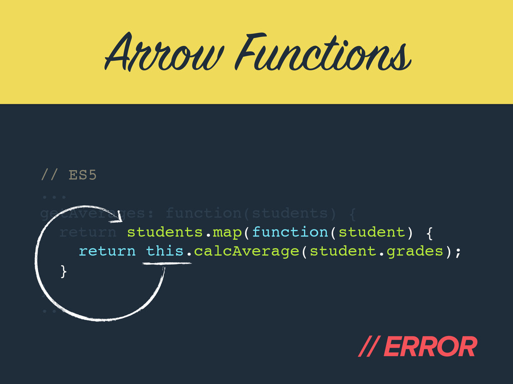 Arrow Functions // ES5 ... getAverages: functio...