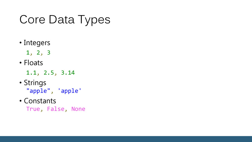 Core Data Types • Integers 1, 2, 3 • Floats 1.1...