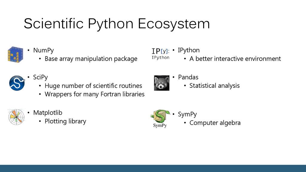 Scientific Python Ecosystem • NumPy • Base arra...