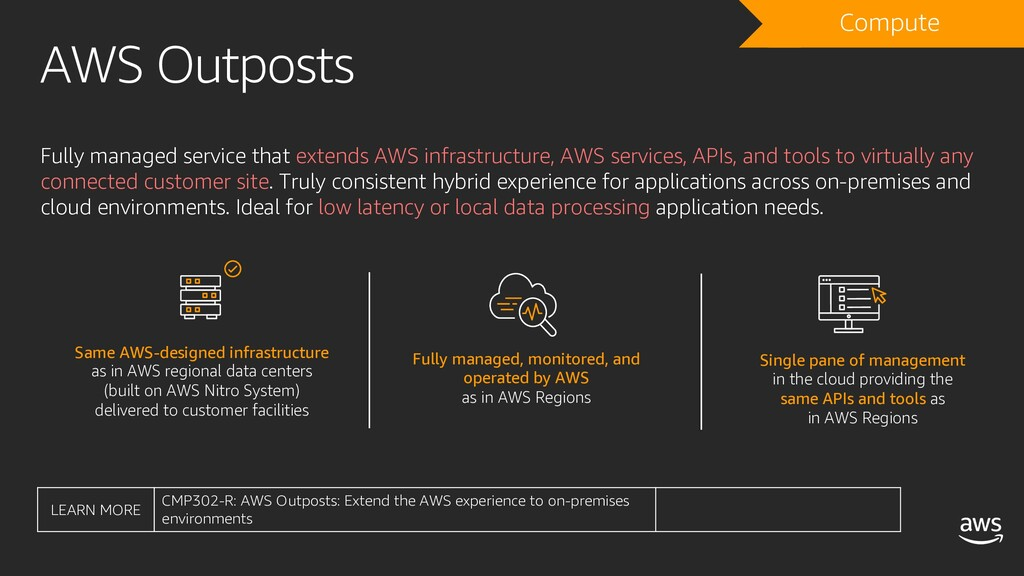 AWS Outposts Fully managed service that extends...