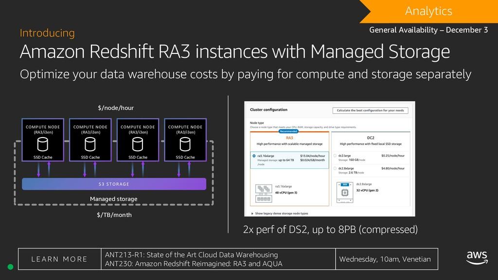 DRAFT Analytics Amazon Redshift RA3 instances w...