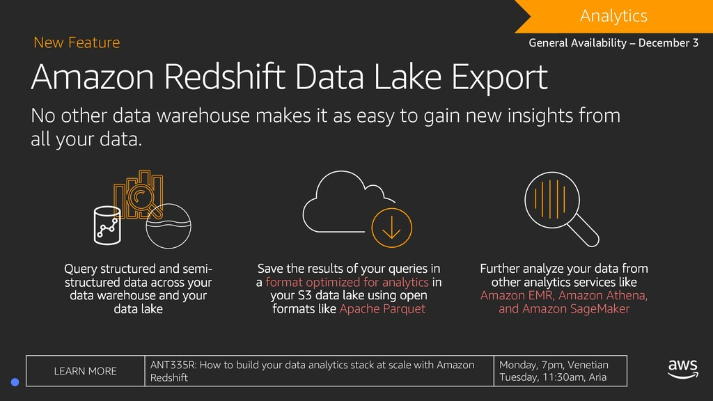 Amazon Redshift Data Lake Export New Feature No...