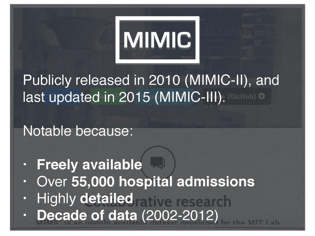 Publicly released in 2010 (MIMIC-II), and last ...