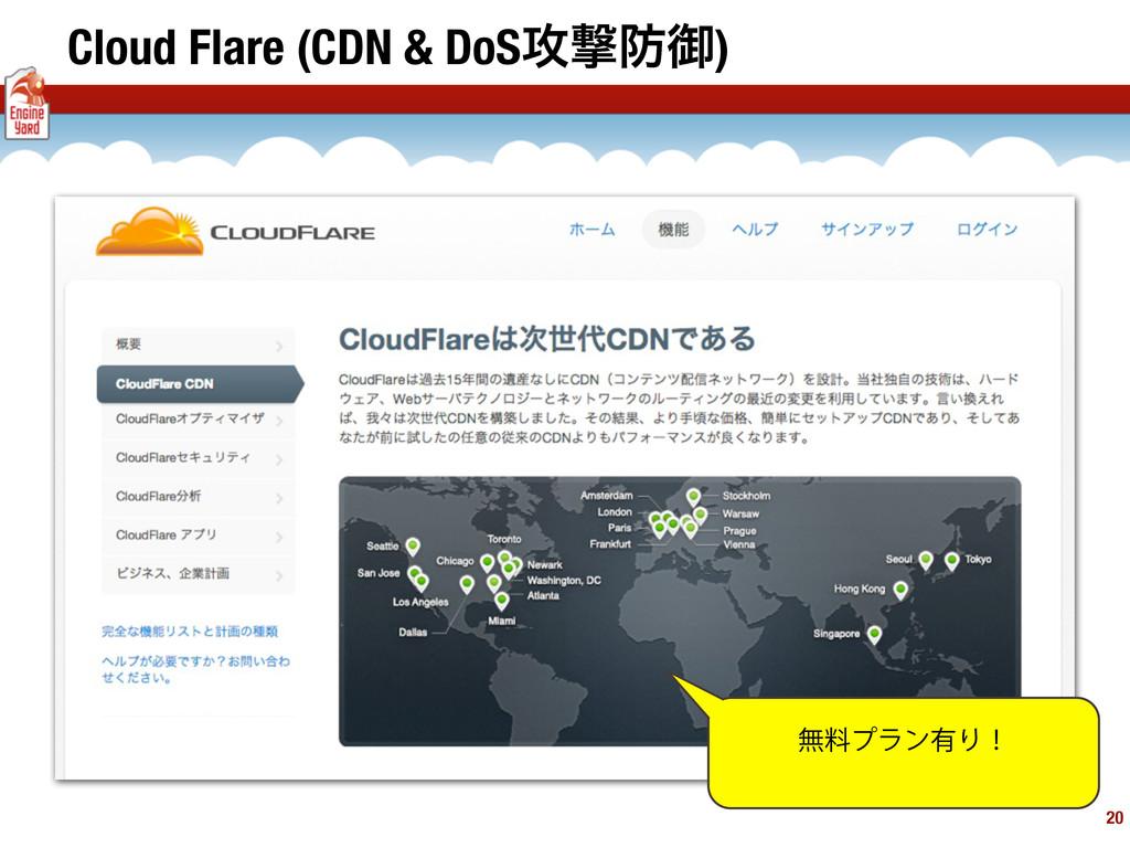 Cloud Flare (CDN & DoS߈ܸޚ) 20 ແྉϓϥϯ༗Γʂ