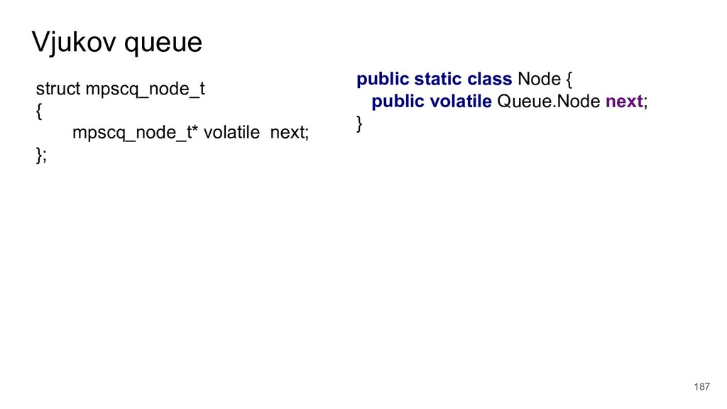 Vjukov queue 187 public static class Node { pub...