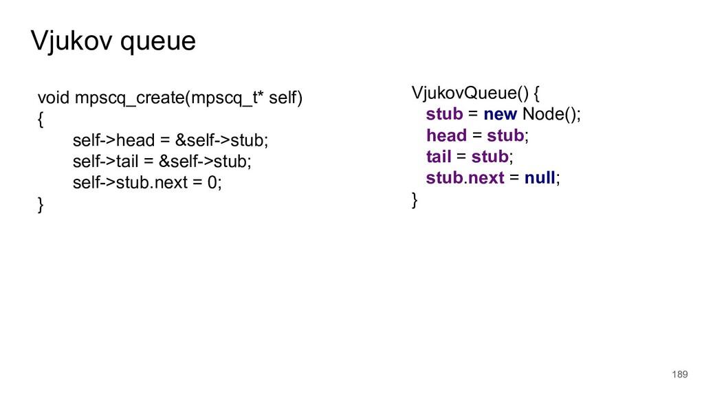 Vjukov queue 189 VjukovQueue() { stub = new Nod...