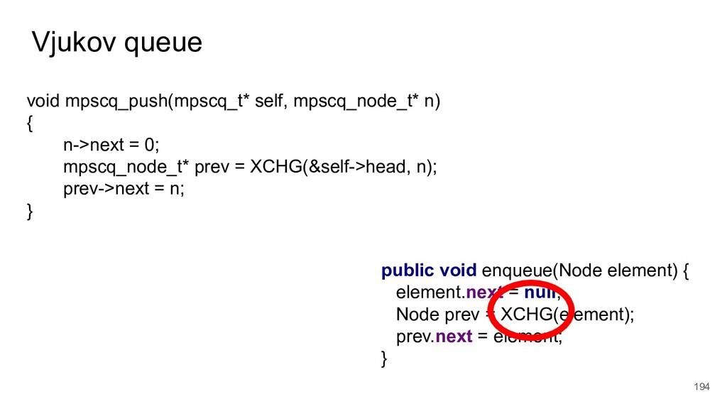 Vjukov queue 194 void mpscq_push(mpscq_t* self,...
