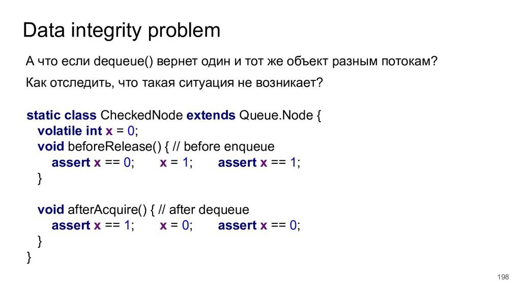 Data integrity problem 198 А что если dequeue()...