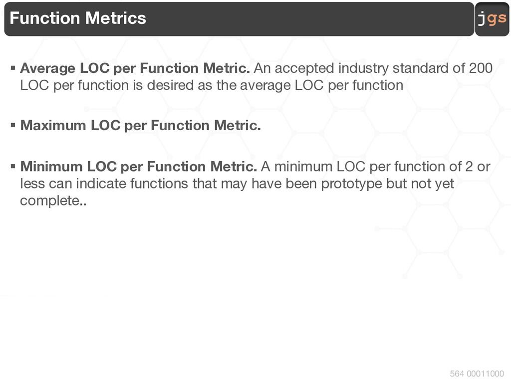 jgs 564 00011000 Function Metrics § Average LOC...
