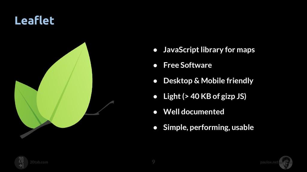 paulox.net 20tab.com Leaflet 9 ● JavaScript lib...